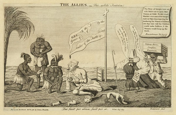 The allies – A Splendid Pair, illustration by John Almon showing King George III sharing a bone with a Native, published circa 1780