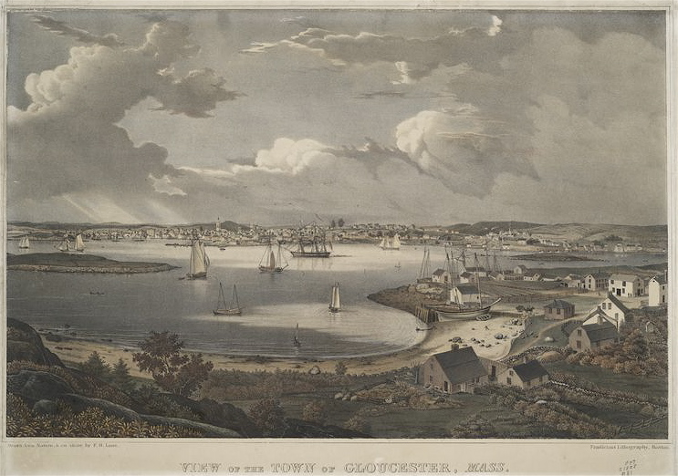 Gloucester Ma, lithograph by Lane Pendleton, circa 1836
