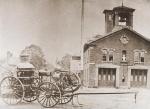 Steamer for Boston Warren Engine No 12 at quarters at Dudley & Warren Streets, Roxbury, circa 1872