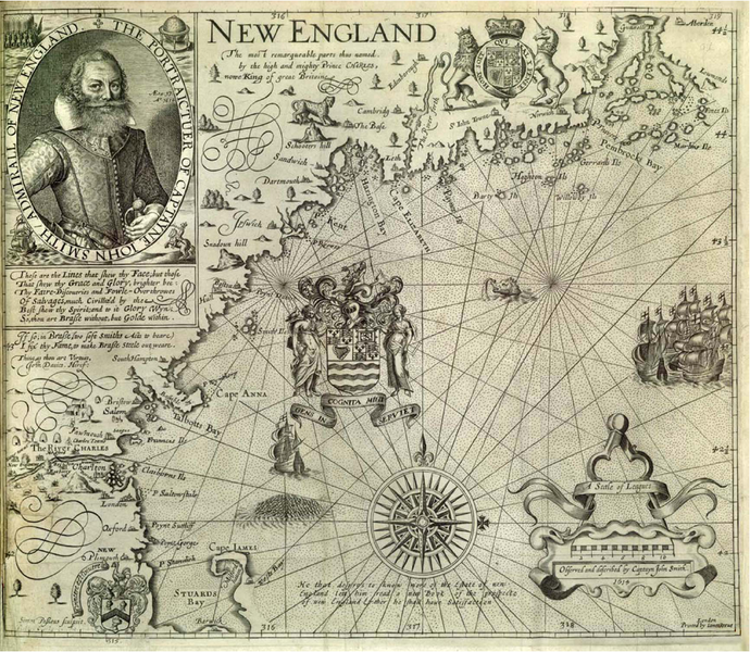 Map of New England by Captain John Smith circa 1616