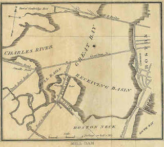 Map depicting the Back Bay Dam, circa 1821