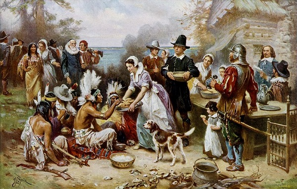 """The First Thanksgiving 1621,"" oil painting by Jean Leon Gerome Ferris, circa 1912-1915"
