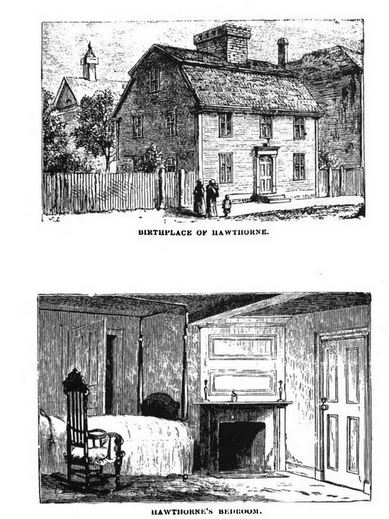 Nathaniel Hawthorne's birthplace in Salem, illustration published in Witchcraft Illustrated, circa 1892