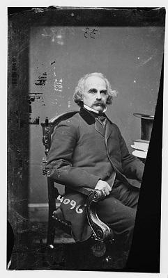 Nathaniel Hawthorne photographed by Mathew Brady circa 1855-1865