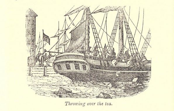 """Throwing over the tea."" Illustration published in a Pictorial History of the United States circa 1857"
