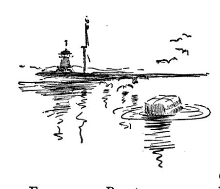 """Tea floating in Boston Harbor."" Illustration published in From the Boston Massacre to the Surrender of Burgoyne circa 1895"