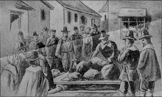 """Giles Corey's Punishment and Awful Death,"" illustration published in ""Witchcraft Illustrated"" by Henrietta D. Kimball in 1892"