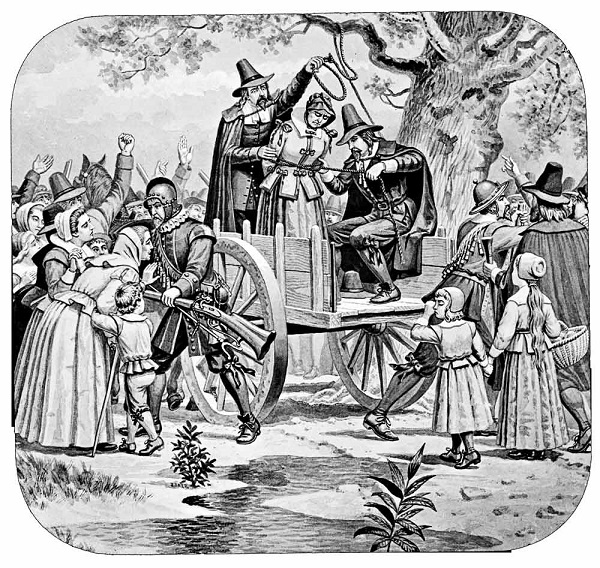 """Execution of Bridget Bishop at Salem, 1692,"" illustration by Joseph Boggs Beale. circa 1885"