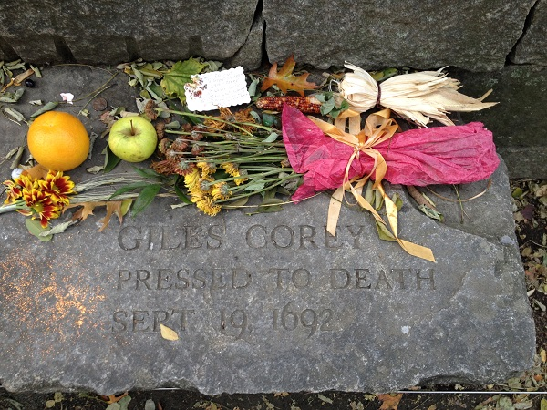 Giles Corey's Memorial Marker, Salem Witch Trials Memorial, Salem Mass, November 2015. Photo Credit: Rebecca Brooks
