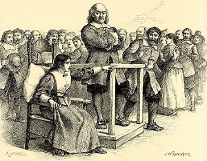 "Illustration of Mary Walcott accusing Giles Corey of witchcraft, by John W. Ehninger, published in ""The Complete Poetical Works of Henry Wadsworth Longfellow,"" circa 1902"