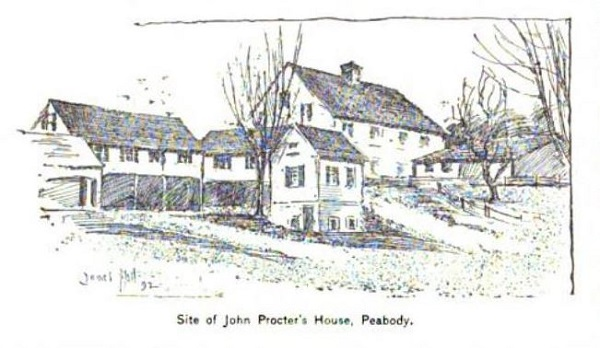 Site of John Proctor's House, Peabody, illustration published in The New England Magazine, Volume 6, circa 1892