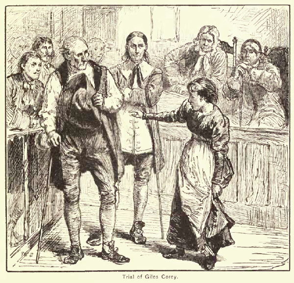 "The ""Trial of Giles Corey"" illustration by Charles Reinhardt, circa 1878"