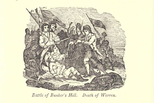 """""""Battle of Bunker Hill. Death of Warren."""" Illustration published in A Pictorial History of the United States, circa 1857"""