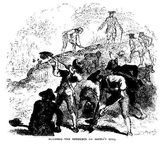 """Building the Redoubts on Breed's Hill."" Illustration published in Our Country, circa 1877"
