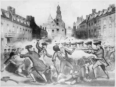 Lithograph of the Boston Massacre by John Bufford, circa 1856