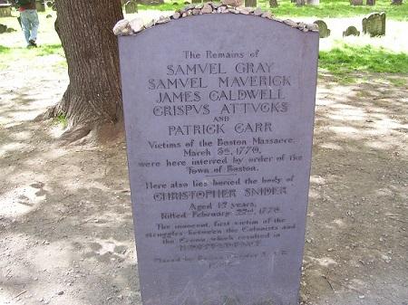 Boston Massacre victims grave, Granary Burying Ground, Boston, Mass. Photo Credit Rebecca Brooks