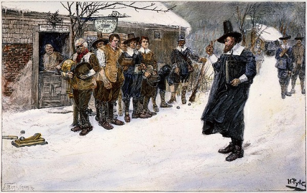 The Puritan Governor interrupting the Christmas Sports, illustration by Howard Pyle, circa 1883