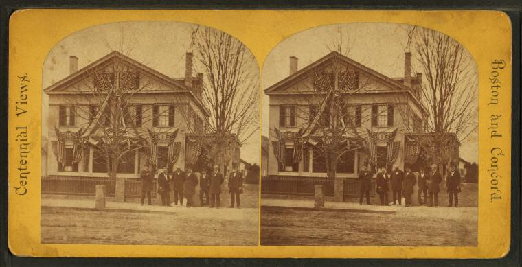 President Ulysses S. Grant and his cabinet at Judge Hoar's house in Concord during the Battle of Concord centennial celebrations, circa 1875