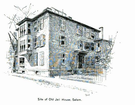 """Site of Old Jail House, Salem,"" illustration published in The New England Magazine, Volume 5, circa 1892"