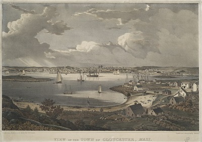 """View of the town of Gloucester, Mass"" lithograph by Fitz Henry Lane printed by Pendleton's Lithography in 1836"