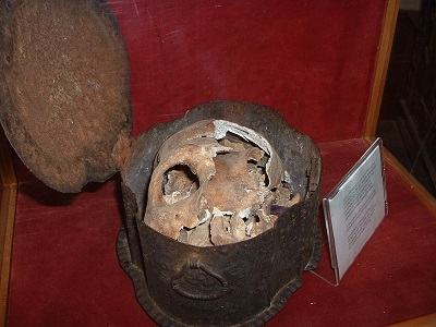 Skull believed to belong to one of Columbus' crew members, Hammond Castle, circa 2007. Photo Credit: Rebecca Brooks