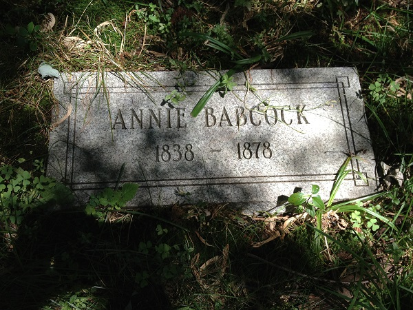 Annie Babcock grave, Danvers State Hospital Cemetery, circa 2013