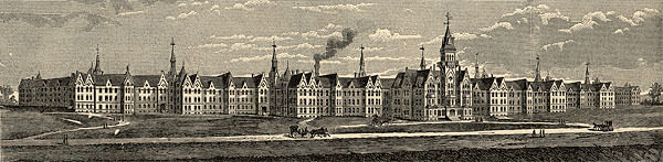 Danvers State Hospital, illustration published in the Annual Report of the Danvers Lunatic Hospital, circa 1886