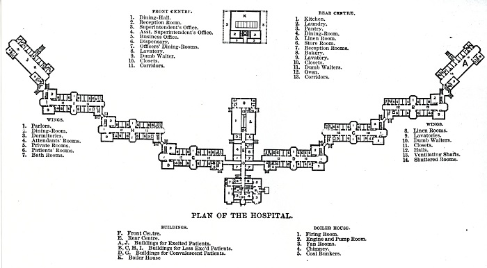 Plan of the Hospital, illustration published in the Annual Report of the Danvers Lunatic Hospital, circa 1886