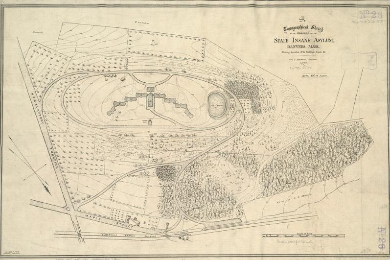 Topographical Sketch of the Grounds of the State Insane Asylum in Danvers Mass, circa 1875