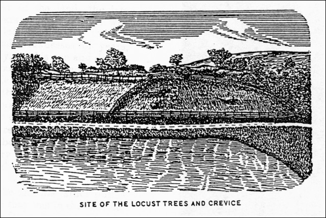Site of The Locust Trees and Crevice, illustration published by Sidney Perley, circa 1921
