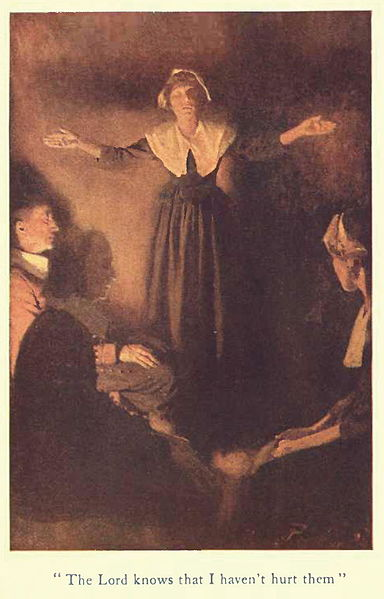 """The Lord knows that I haven't hurt them"" illustration of Rebecca Nurse by Howard Pyle, published in ""Dulcibel: A tale of old Salem"" by Henry Peterson, circa 1907"