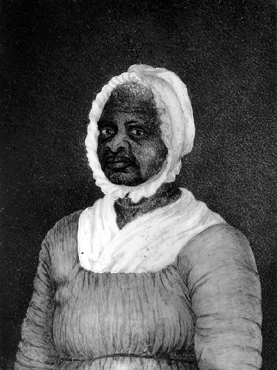 Mum Bett, aka Elizabeth Freeman, Watercolor on Ivory Painted by Susan Ridley Sedgwick circa 1812. Bett was the first slave to successfully sue for her freedom.