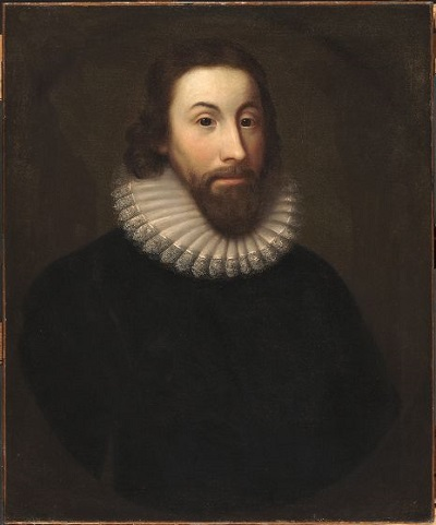 Oil painting of Governor John Winthrop, by Charles Osgood circa 19th century. Winthrop, a slave owner, helped write the first law legalizing slavery in North America.