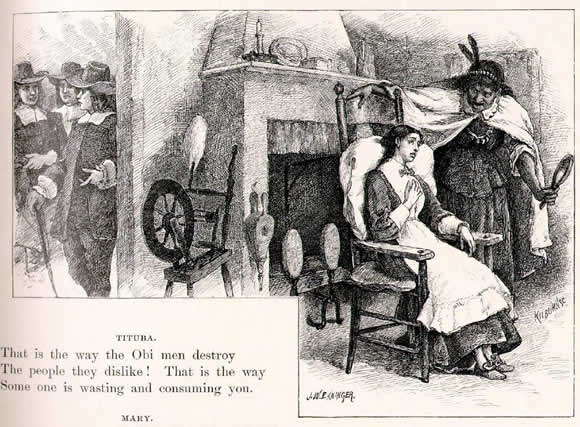 """Look Into This Glass"" illustration of Tituba and Mary Warren by John W Ehninger published in Poetical Works of Longfellow circa 1902"