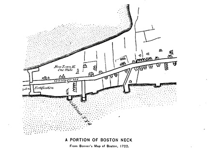 Boston Neck in 1722. The Boston gallows were located left of the fortification
