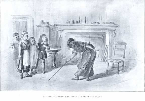 Tituba Teaching the First Act of Witchcraft Illustration by Unknown Artists published in Witchcraft Illustrated circa 1892