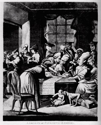 """A Society of Patriotic Ladies"" a British cartoon mocking the Edenton Ladies Tea Party, a political protest against the British government organized by a group of North Carolina women in 1774"