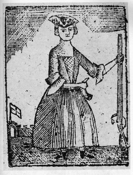 "Woodcut of an armed female combatant from ""A New Touch on the Times"" circa 1779"