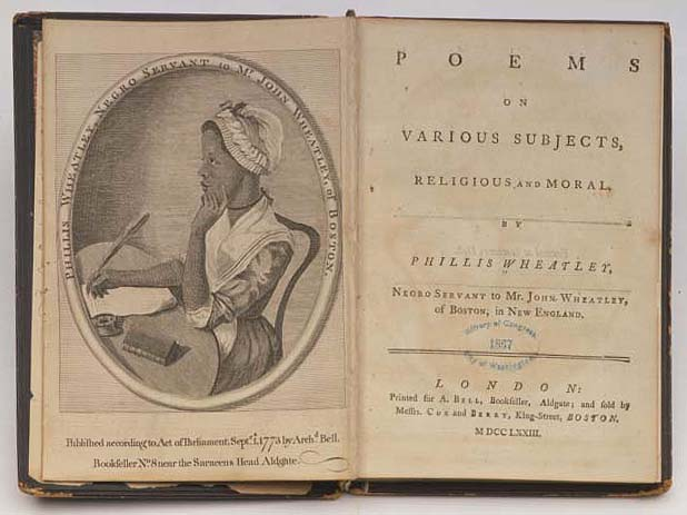 "Illustration of Phillis Wheatley by Scipio Moorhead published in her book ""Poems on Various Subjects"" circa 1773"