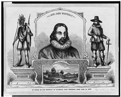 """Gov. John Winthrop -- In honor of the birthday of Governor John Winthrop, born June 12, 1587,"" wood engraving, circa 1860-1880"