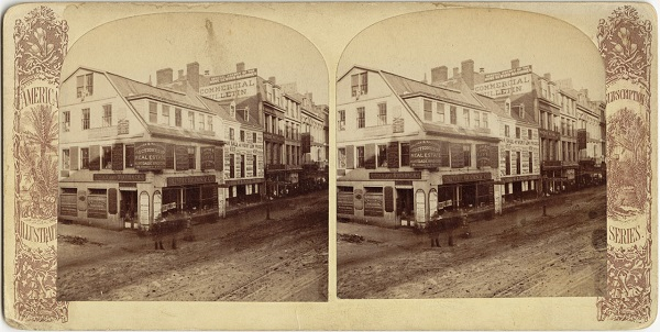 Old Corner Bookstore, Boston, Ma, circa 19th century, former site of Anne Hutchinson's house