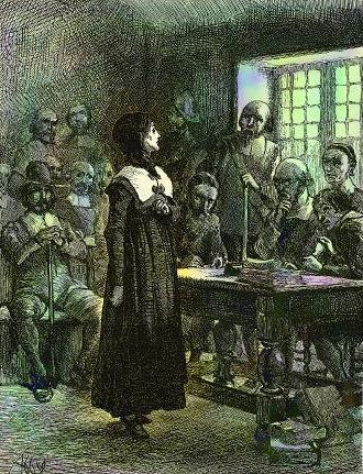Anne Hutchinson on Trial, illustration by Edwin Austin Abbey, circa 1901