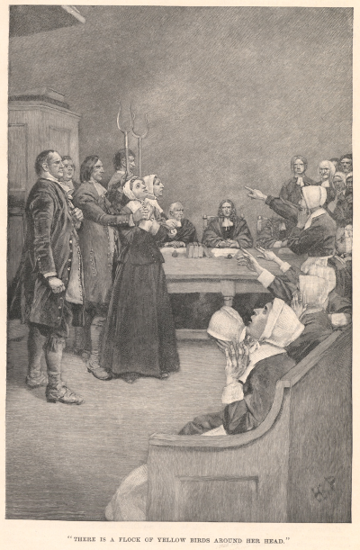 There is a flock of yellow birds around her head, illustration by Howard Pyle, to accompany Giles Corey, Yeoman, a play by Mary E. Wilkins, Harper's New Monthly Magazine, Volume LXXXVI, 1893