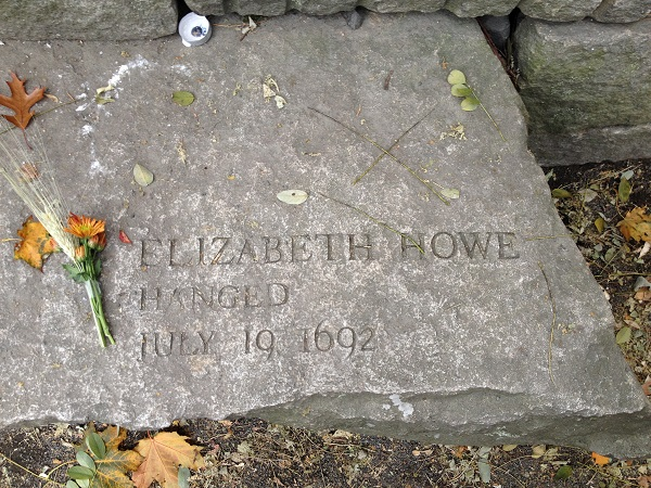 Elizabeth Howe's Memorial Marker, Salem Witch Trials Memorial, Salem, Mass, November 2015. Photo Credit: Rebecca Brooks