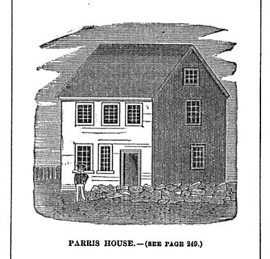 Samuel Parris House, illustration published in Old Naumkeag. circa 1877