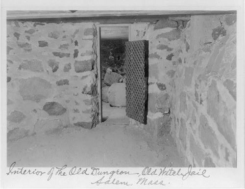 Interior of the old dungeon, old witch jail, Salem, Mass, circa 1935