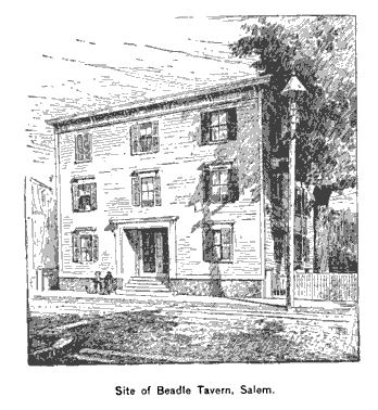 Site of Beadle Tavern, Salem, illustration published in The New England Magazine, Volume 6, circa 1892