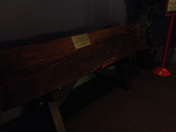 Header beam from Salem Witch Jail at the Salem Witch Museum, Salem, Mass