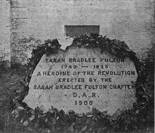 Sarah Bradlee Fulton, memorial marker, Salem Street Burying Ground, Medford, Mass, circa 1900