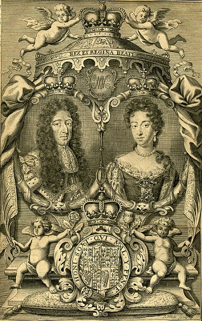 King William III and Queen Mary II, engraving, circa 1703